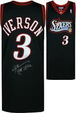 """Allen Iverson 76ers Signed M&N Throwback 1997-1998 Black Jersey & """"HOF 16"""" Insc"""