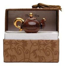 Brown Teapot Glass Messenger with 24 Karat Gold, Thank You Message