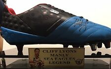 MANLY LEGEND CLIFF LYONS SIGNED BOOT IN DISPLAY CASE