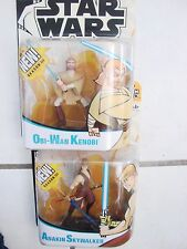 Star War Animated Cartoon Network Action Figures lot of 2 Anakin and Obi Wan