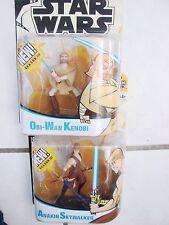 Star War Animated Cartoon Network Action Figures lot of 2 Anakin and Obi Wan