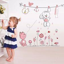 Pink Cartoon Cat Rabbit Flower Wall Sticker  Girls Kids Rooms Home Wall Decals