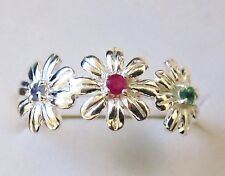 Genuine Ruby, Emerald & Tanzanite Flower Ring, 925 Sterling Silver size 7