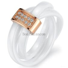 White Tricyclic Dome Ceramic Rolling Ring Silver / Gold Tone Roped Wedding Band