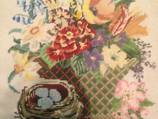 VINTAGE HAND EMBROIDERED TAPESTRY PICTURE ~ SPRING TIME ~ GORGEOUS FLOWERS
