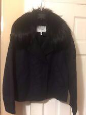 NWT DEREK LAM 10 CROSBY w/Fox Fur Trim Wool Blend Cropped Pea Coat $998  size 12