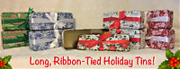 ❄️Christmas Tins w/Ribbons 5 Designs 2 Sizes Nesting Duos Snowflakes Candy Canes