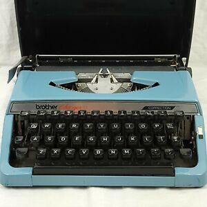 Vintage Brother Charger 11 Correction Portable Typewriter Blue w/ Original Case