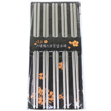 5 Pairs of Silver Stainless Steel Chopsticks USA Based Seller