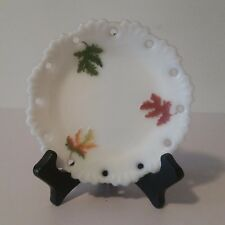 """jb Milk Glass 6"""" Plate w/ Pierced Edges & Embossed with Fall Colored Leaves ~ A2"""