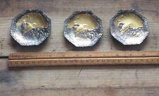 Antique Metal Copper ? Bird Design Art Trays , Platters , Coasters, Stunning ,