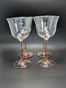 Wine Glass Peach Pink Stem Clear Goblets Set of 4