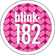 BLINK 182 1-inch BADGE Button Pin Pink Hearts Logo NEW OFFICIAL MERCHANDISE