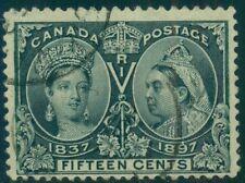 CANADA #58 15¢ steel blue, used w/face free cancel F/VF