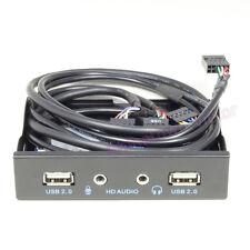 "2-Port USB 2.0 & HD Audio Front Panel Metal Expansion Rack 3.5"" PC Floppy Bay"