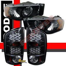 02 03 04 05 Dodge Ram 1500 2500 3500 Pickup Black Headlights + LED Tail Lights