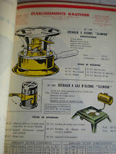 Ephemara Vintage catalogue camping stoves Fly sprays oil cans Gauthier 1958