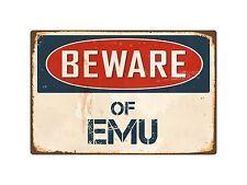 "Beware Of Emu 8"" x 12"" Vintage Aluminum Retro Metal Sign VS157"