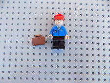 Lego Minifigure Town City Airport Airplane Pilot w/ Red Hat, Brown Briefcase