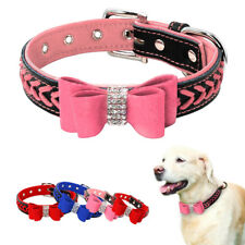 Bow Tie Braided Dog Collars Diamante Soft Leather Padded Red Pink Blue XS S M L