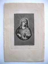 stampa antica religione MADONNA SACRO CUORE incisore Lucia Mattei 1800