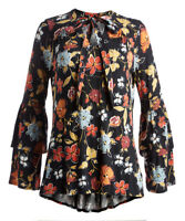 Black Floral Blouse Size 16 Ladies Womens Top With Long Sleeves