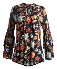 Black Floral Top Size 16 Long Sleeved T-185