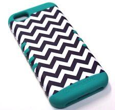for iPhone 5c Chevron Wave Turquoise Hard &Soft Hybrid Rubber Koolkase Skin Case