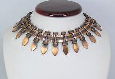 "Vintage Cleopatra Style Egyptian Revival Copper Choker Fringe Bib Necklace 16"""