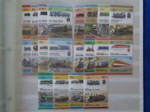 ST VINCENT / GRENADINES - 5 x RAILWAYS LEADERS OF THE WORLD MNH SETS OF 8v