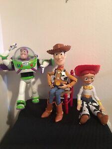"""Toy Story -Buzz Lightyear 12"""", Woody (Pull string) 15"""" & Jessie 15""""."""