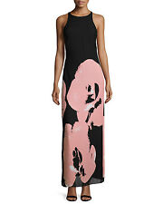 Halston Heritage Black W/Pink Orchid Flower Silk Womens Maxi Dress Sze 2 395 NWT
