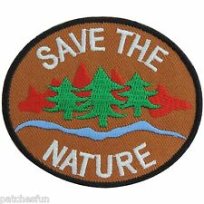 Save the Nature Energy Tree Water Love Earth World Brown Iron on Patches #1296