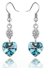 Aqua Blue Romantic Blue Heart Shaped Rhinestone Drop Dangling Earrings E298