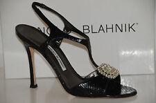 New Manolo Blahnik Krusostrel Black Snake SKINS Jeweled Shoes Sandals 40.5