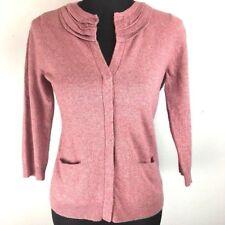 J Jill Cardigan Sweater PS Small Petite Pink Pockets Wool Silk Blend 3/4 Sleeve