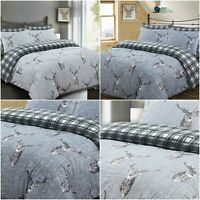 STAG DUVET COVER SET CHECK QUILT BEDDING SET CHARCOAL GREY SILVER 100% COTTON