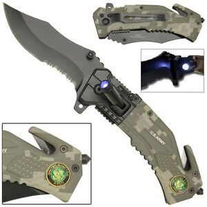 Assisted LED Tactical US Army Digital Camouflage Rescue Knife