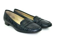 Talbots Womens Ladies Blue Croc Embossed Leather Flats Loafer Shoes Size 8.5 B