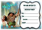 A5 DISNEY KIDS CHILDRENS PARTY INVITATIONS X 12 - MOANA FRAME DESIGN