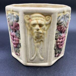 Vtg. Weller Pottery Roma Lion's Head Greek Cream Ware Planter Pot