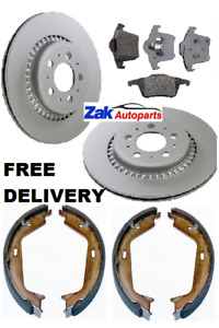 FOR VOLVO XC90 (03-11) REAR BRAKE DISCS AND PADS & HANDBRAKE SHOES SET (308MM)