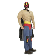 Mens Mexican Wrestler Costume Adult Wrestling Fighter Fancy Dress Stag Do Outfit