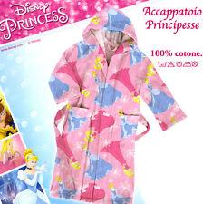 Accappatoio Principesse Cappuccio Tasche Aurora Cenerentola 4/6 Disney Caleffi