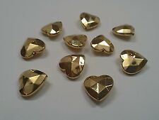 Acrylic Faceted Golden Heart Beads Qty 10 CCB Style 16x16x7mm, Hole: 1mm