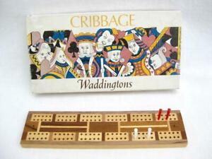 """Cribbage    Inlaid crib pegging score board  9.5""""   Boxed, pegs  From Waddington"""