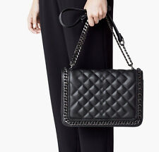 Mango Black Quilted Panel City Hand Bag With Chain Detail Sold Out New Bloggers