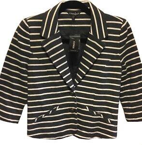 NWT Express Gray White Career Work Blazer Jacket 3/4 Sleeve Striped Size XS