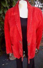 WOMEN'S COAT SOUTHWEST SUEDE LEATHER VINTAGE HANDMADE RED SZ LARGE FRINGE CONCHO