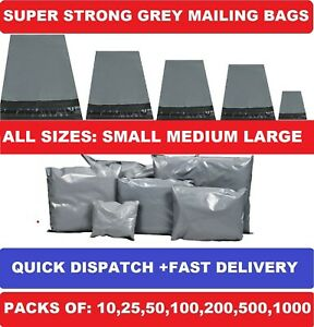 GREY MAILING BAGS STRONG POLY POSTAL POST POSTAGE SELF SEAL PACKAGING STRONG